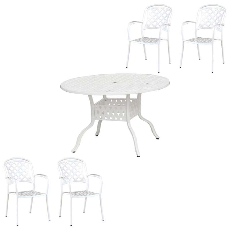 Inko Tisch-Set 1 Tisch 120x74cm rund 4 Sessel Aluminium Guss weiss Variante wählbar