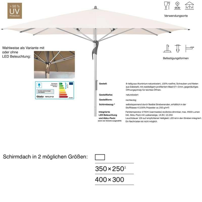 GLATZ Sonnenschirm FORTELLO® / LED rechteckig 350 x 250 / 400 x 300 cm Vanilla 453 Mittelmastschirm