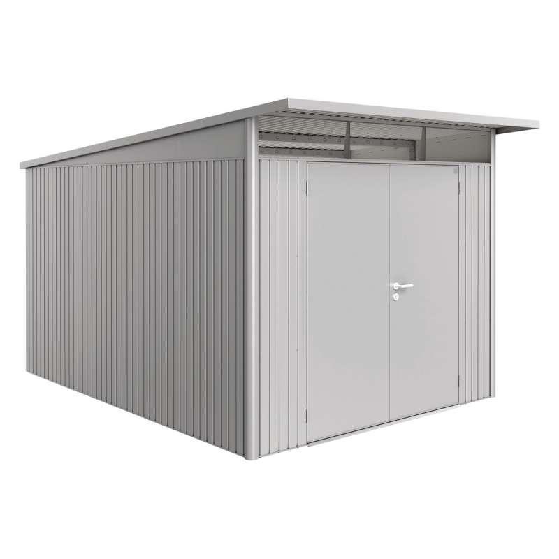 Biohort Gartenhaus AvantGarde® mit Doppeltür silber-metallic 8 verschiedenen Größen Gerätehaus