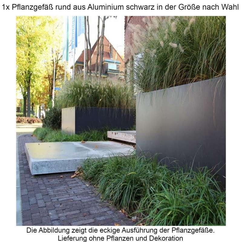 Mecondo Pflanzgefäß rund aus Aluminium schwarzgrau RAL 7021 Größe nach Wahl Blumenkübel