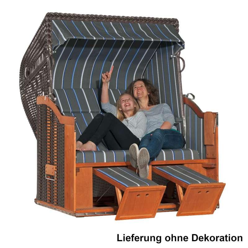 Sonnenpartner Strandkorb Classic 2-Sitzer XL Halbliegemodell anthrazit/blau mit Tablethalterung