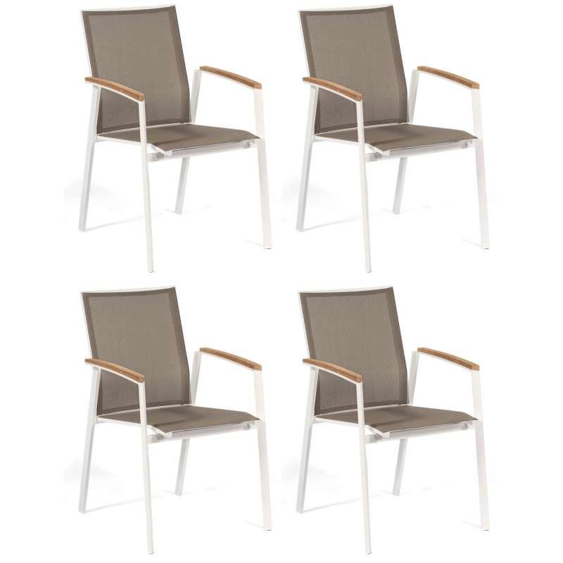 Sonnenpartner 4er-Set Stapelstühle Fresno Aluminium mit Textilen weiß Stapel-Sessel Stapelstuhl