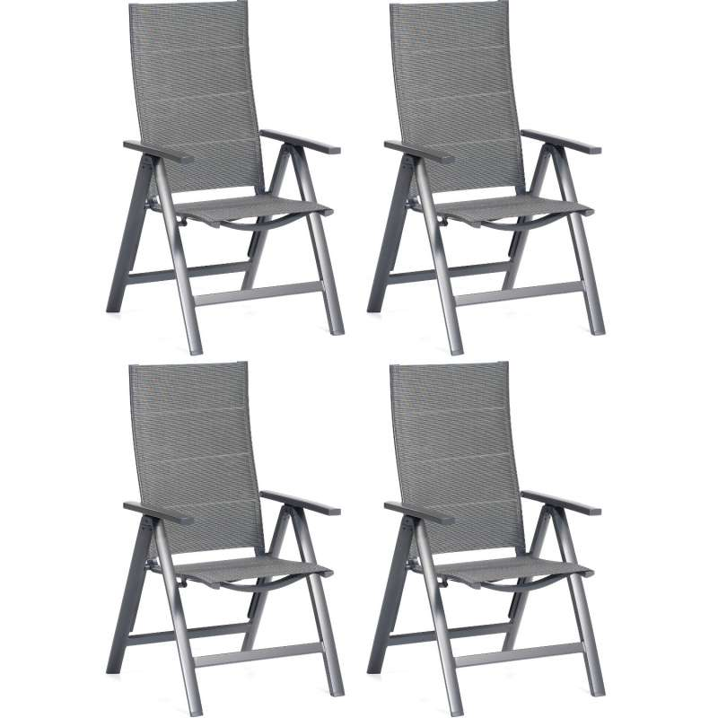 SunnySmart 4er-Set Garten-Klappsessel Concept Aluminium mit Polstertextilgewebe anthrazit Gartenstuh