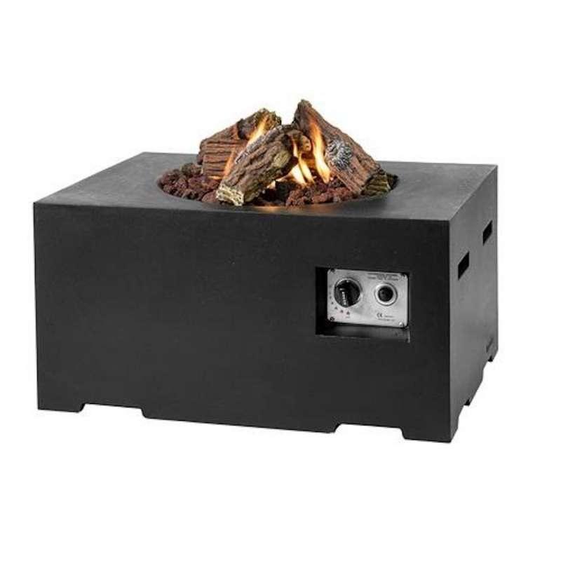 Happy Cocooning Mania Feuertisch 12 kW rechteckig klein 80x60x40 cm Beton-Optik schwarz