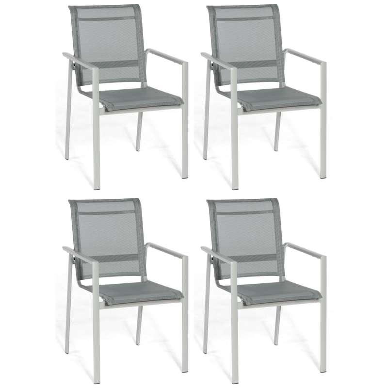 Sonnenpartner 4er-Set Stapelstühle Esprit Aluminium mit Textilen silber Stapel-Sessel Stapelstuhl