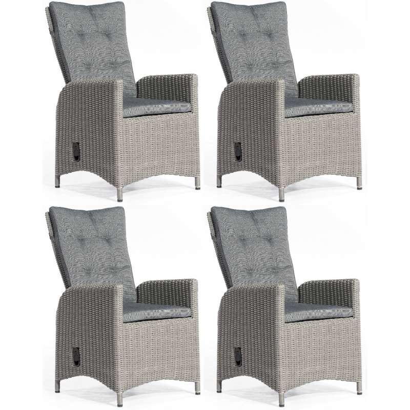 SunnySmart 4er Set Dining-Sessel Para-Plus Aluminium mit Kunststoffgeflecht rustic-vintage Gartenstu