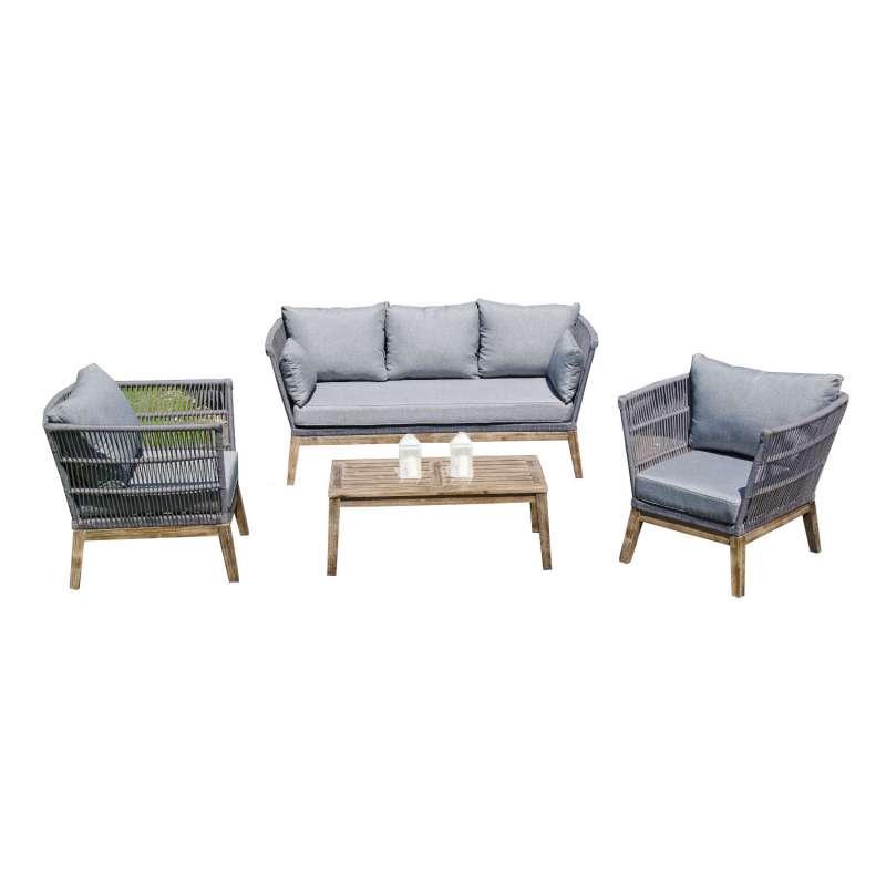 SunnySmart 4-teilige Loungegruppe Astoria Akazienholz und Aluminium mit Polyrope grau