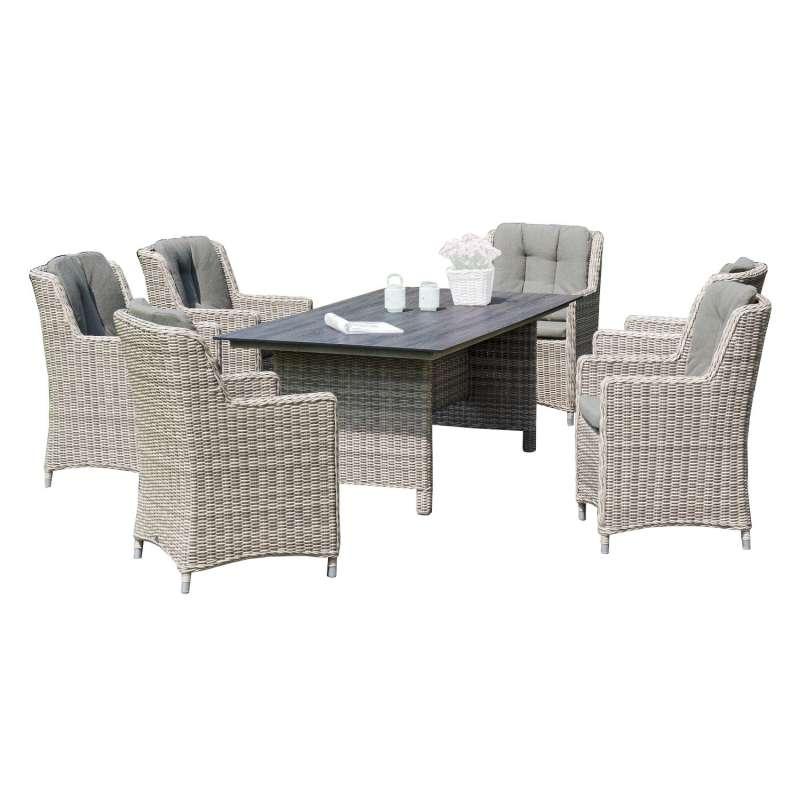 Sonnenpartner 7-teilige Sitzgruppe Avatar & Base-Polyrattan 160x90 cm Aluminium mit Polyrattan white