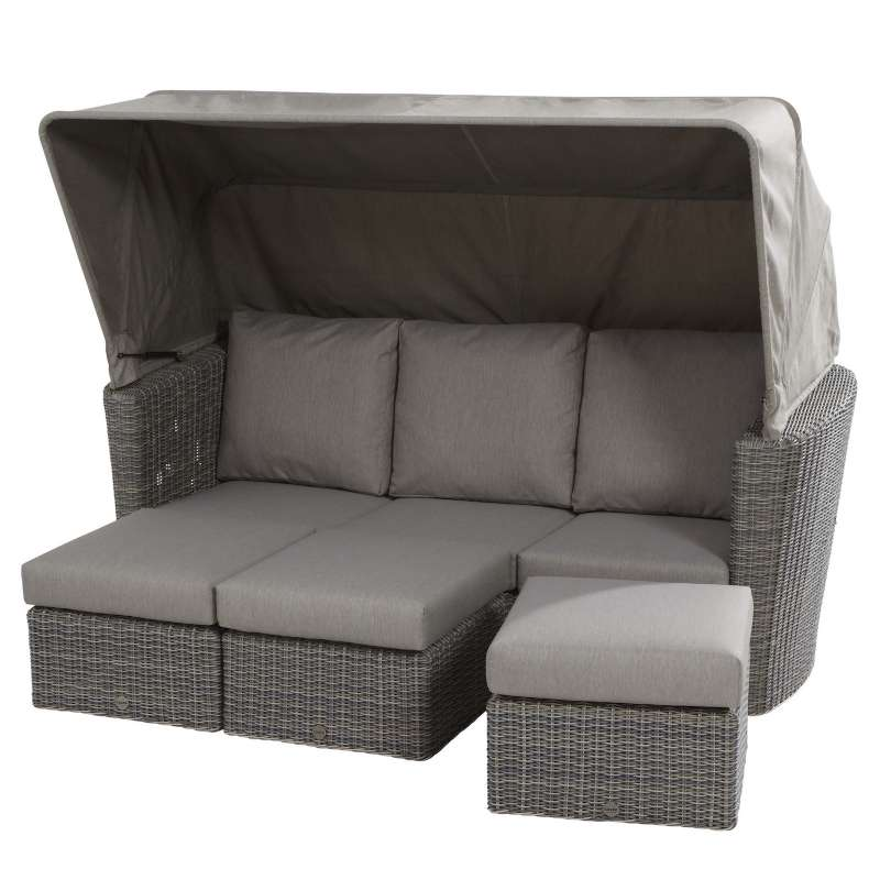 Aqua-Saar Loungeinsel Madura Loungegruppe Roca Light Grey mit Dach AS24009