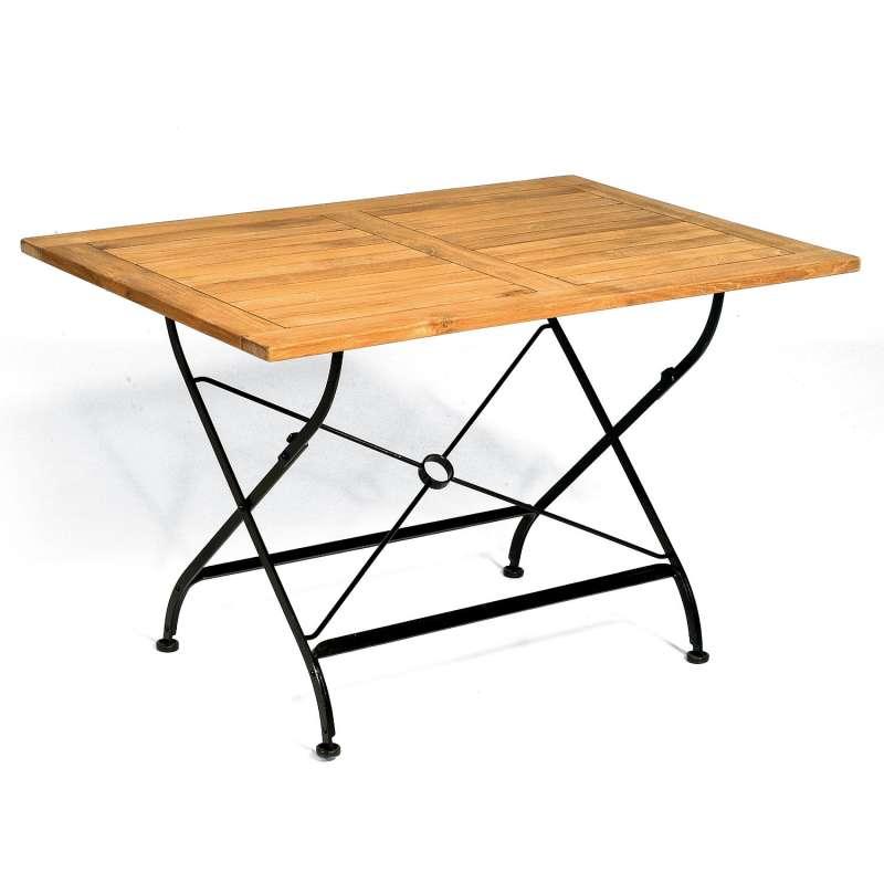 Sonnenpartner Klapptisch Oxford 120x80 cm Teakholz und Eisen schwarz Gartentisch klappbar