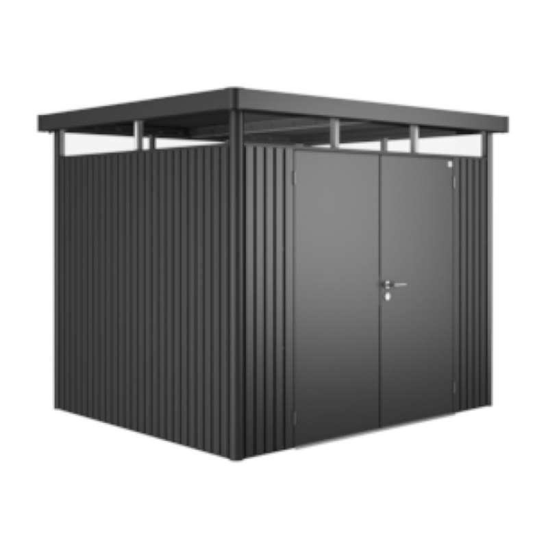 Biohort Gartenhaus Highline® mit Doppeltür dunkelgrau-metallic 5 verschiedenen Größen Gerätehaus