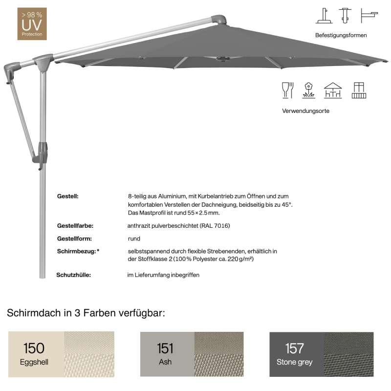 GLATZ Sonnenschirm SUNWING® CASA easy rund ø 330 cm in 3 Farben Ampelschirm Stoffklasse 2