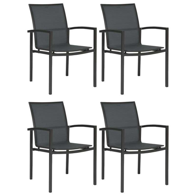 Stern 4er-Set Stapelsessel Skelby Aluminium anthrazit/Textilen karbon Gartenstuhl Stapelstuhl