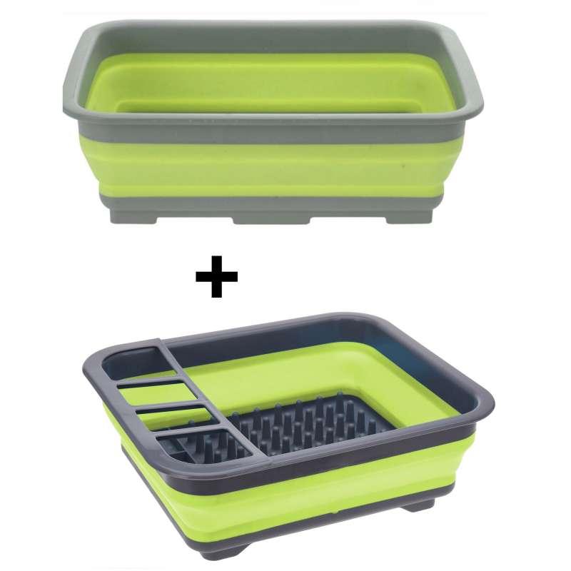 Spülschüssel SET Abtropfgitter Spülset Campingküche faltbar Campingschüssel
