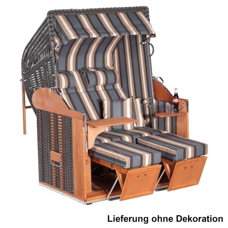 Sonnenpartner Strandkorb Classic 2-Sitzer Liegemodell anthrazit mit Sonderausstattung