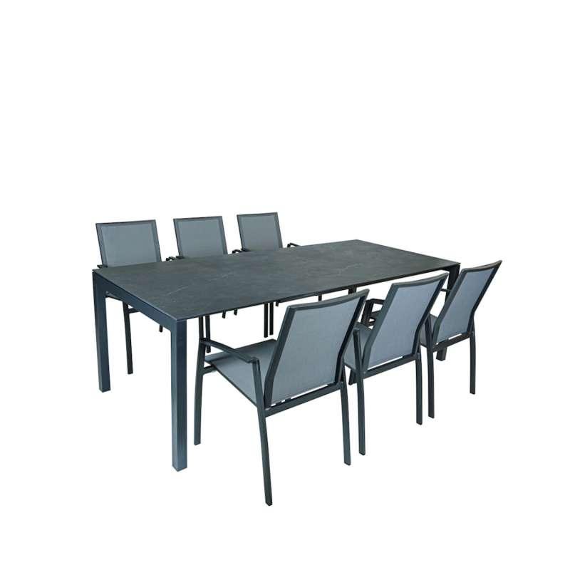 SIT Mobilia 7-teilige Sitzgruppe Etna Alpha & Argentina Aluminium eisengrau/Dekton/silber Tisch 160/