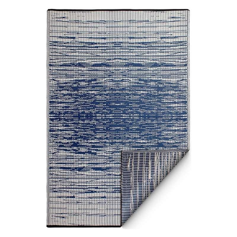 Fab Hab Outdoorteppich Brooklyn Blue aus recyceltem Plastik blau/weiß wetterfest 150x240 cm