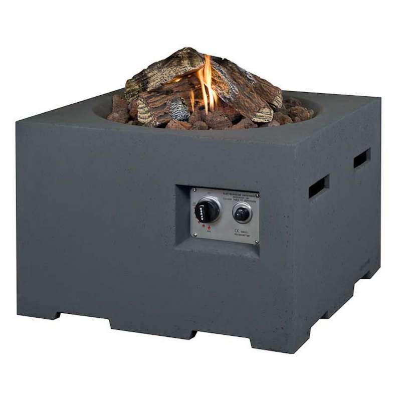 Happy Cocooning Mania Feuertisch 19,5 kW quadratisch groß 76x76x46 cm Beton-Optik grau