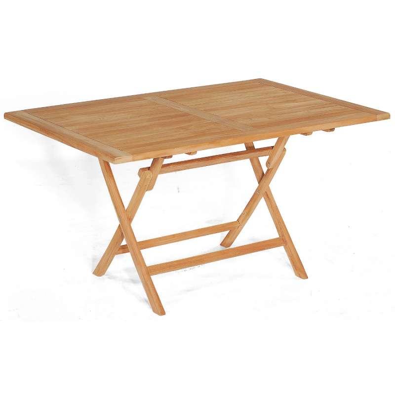 SunnySmart Teakholz-Klapptisch Perth natur Tisch 140x95 cm Balkontisch