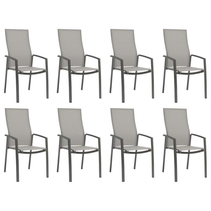 Stern 8er-Set Stapelsessel Kari Aluminium anthrazit/Textilen silber hohe Rückenlehne Gartenstuhl Sta