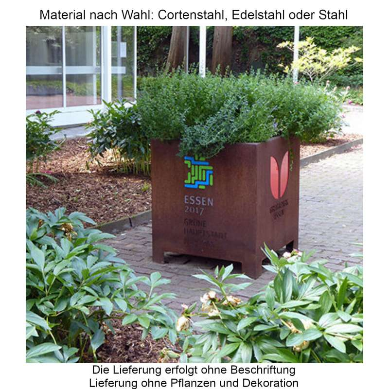 Mecondo Pflanzgefäß CONA gerade 45x45x55 cm Corten/Edelstahl/Stahl Blumenkübel