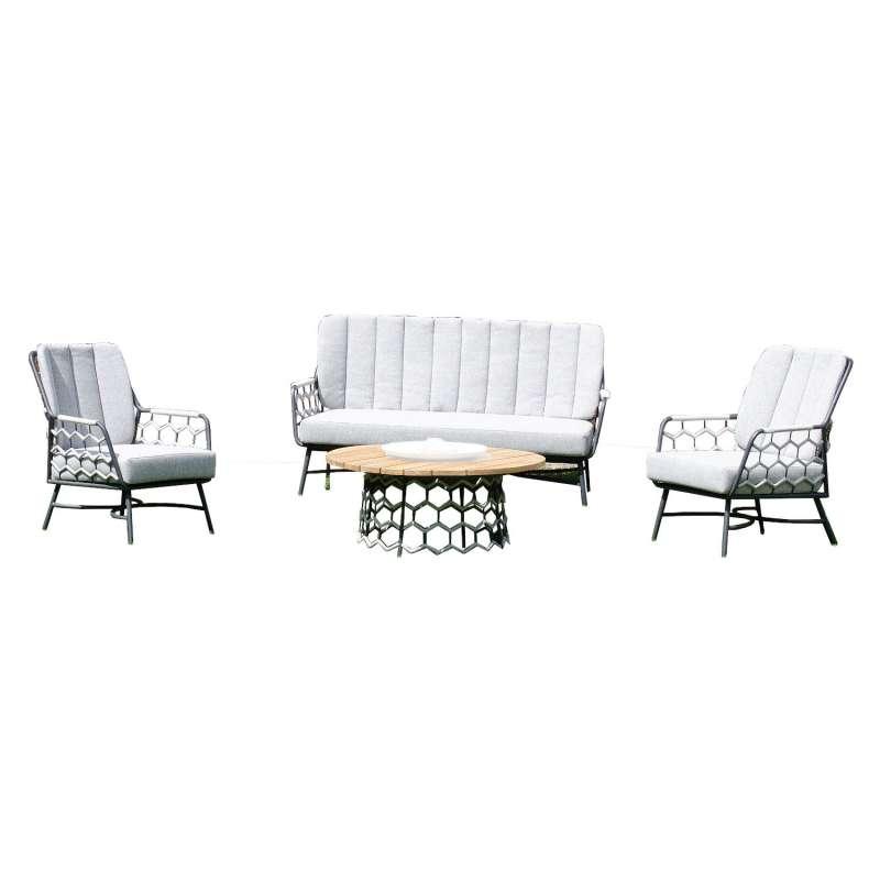 Sonnenpartner 4-teilige Lounge-Sitzgruppe Yale mit Tisch Aluminium mit Teakholz/Polyrope silbergrau