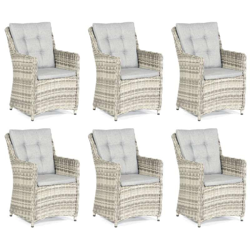 SunnySmart 6x Garten-Sessel Hamilton Alu/Kunststoffgeflecht vintage-taupe Gartenstuhl