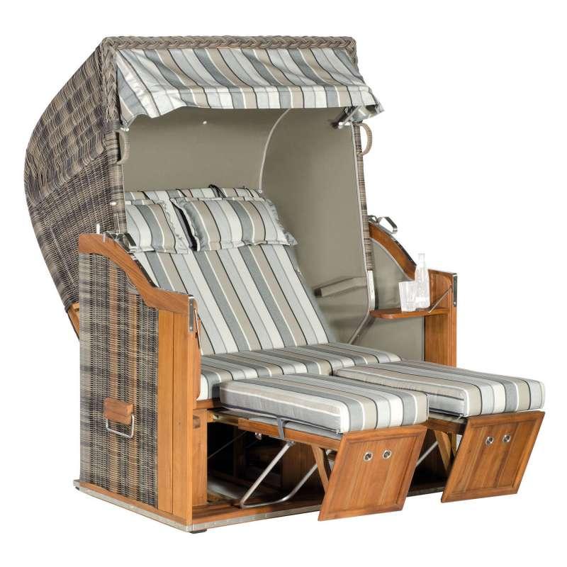 Sonnenpartner Strandkorb Classic Teak 2-Sitzer Halbliegemodell cappuccino/tessera/taupe mit Kissen