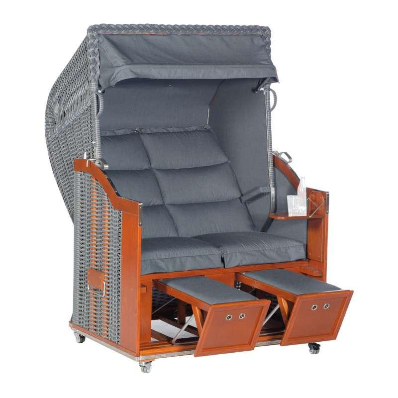 Sonnenpartner Strandkorb Classic 2-Sitzer Duo-Style Halbliegemodell onix/charcoal mit Sonderausstatt