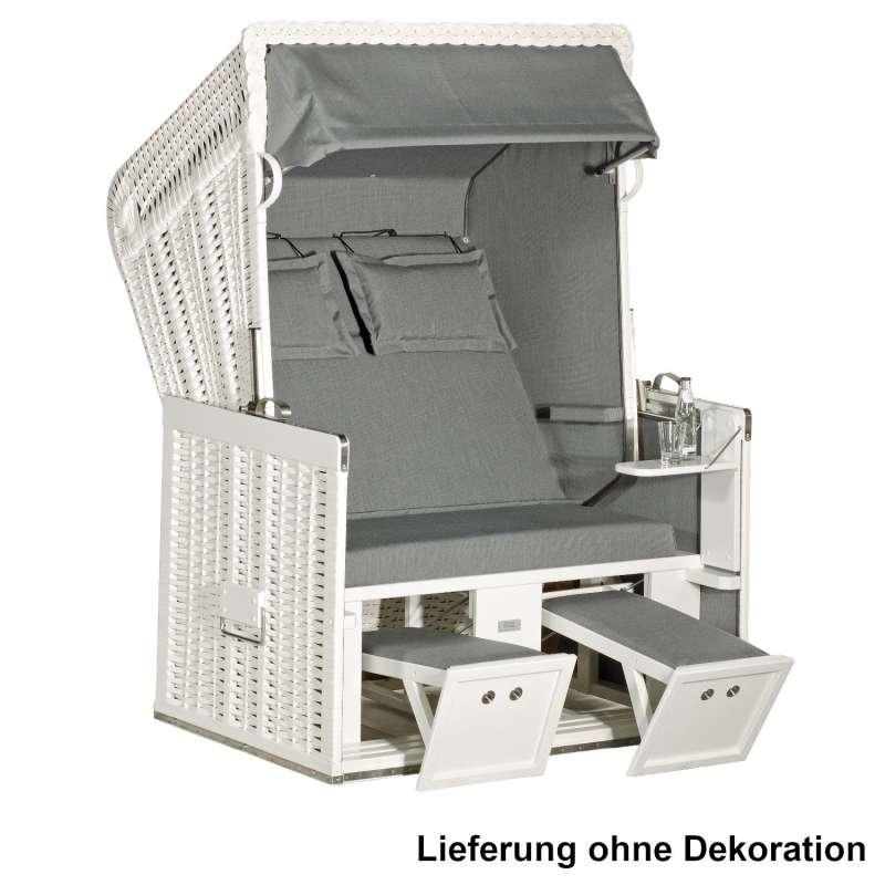 Sonnenpartner Strandkorb Classic 2-Sitzer Halbliegemodell weiß/grau mit 2 Komfortkopfkissen