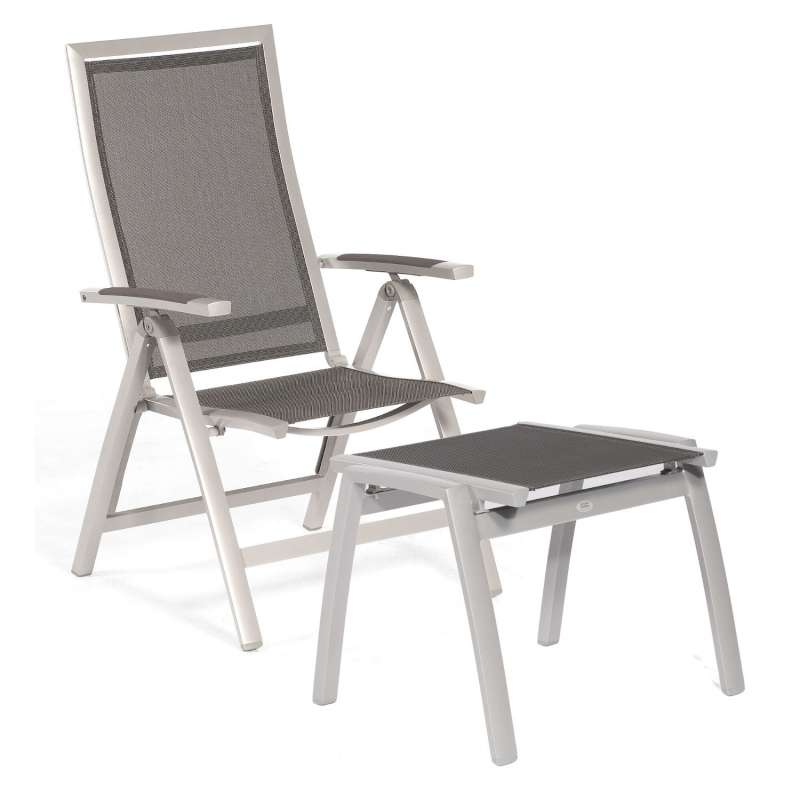 Sonnenpartner Klappsessel Star mit Fußhocker Aluminium mit Textilen silber Klapp-Sessel Klappstuhl