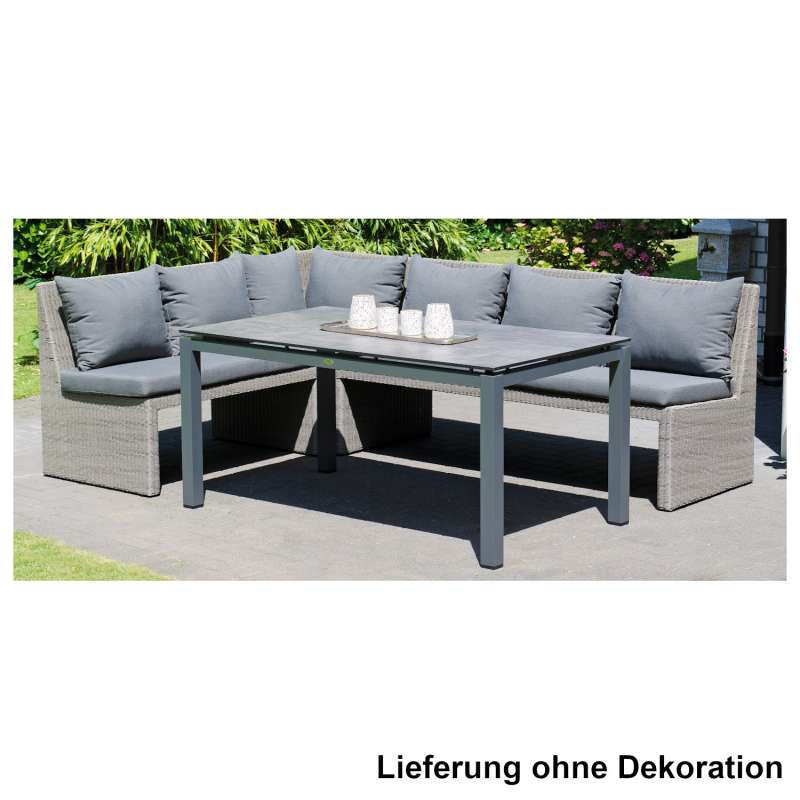 Sonnenpartner 4-teilige Dining-Lounge-Sitzgruppe Savannah & Base 160x90 cm Aluminium mit Polyrattan