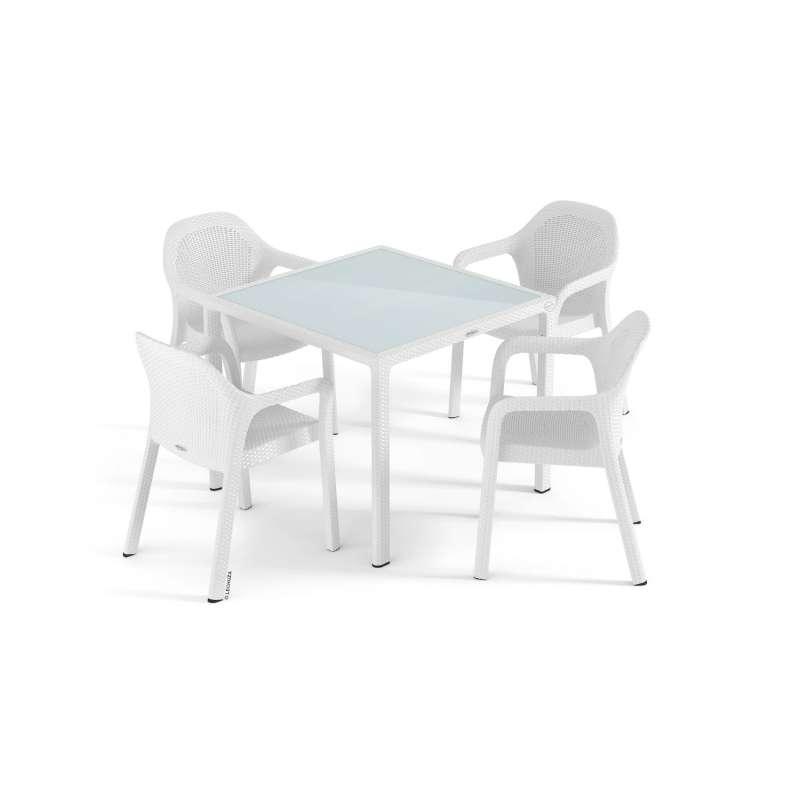 Lechuza Sitzgruppe Esstisch 90 x 90 cm weiß inkl. 4 Stühle Gartentisch SET