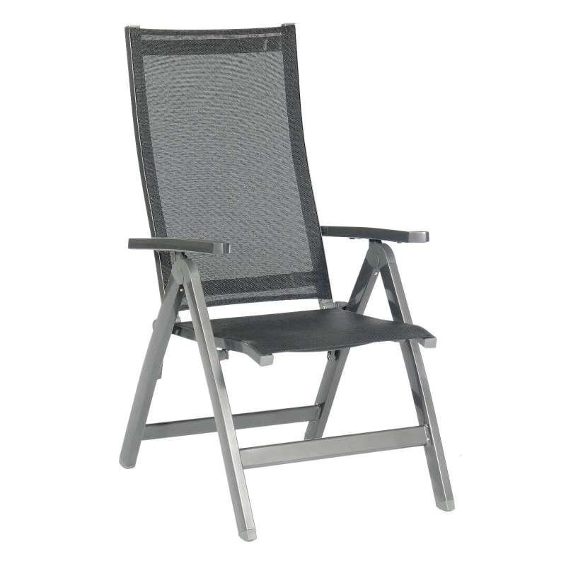 Sonnenpartner Klappsessel Fresno Aluminium mit Textilen anthrazit Klapp-Sessel Klappstuhl