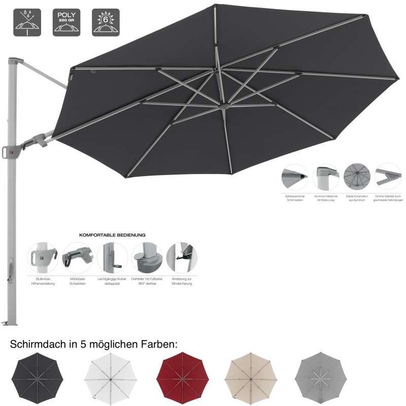 KNIRPS Pendular Ampelschirm ø 340 cm rund Sonnenschirm Pendelschirm 5 Farbvarianten