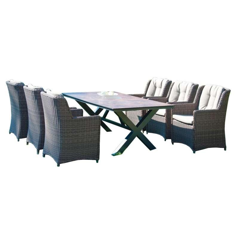 Sonnenpartner 7-teilige Sitzgruppe Avatar & Base-Spectra 200x100 cm Aluminium mit Polyrattan rustic-