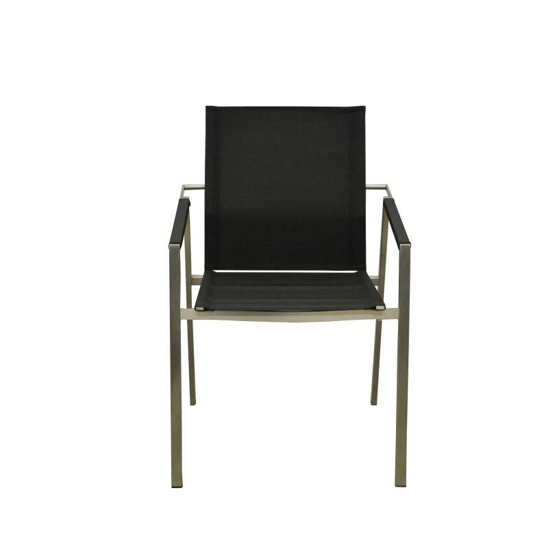 SIT Mobilia Gartenstuhl Lehnsessel Leon Edelstahl in schwarz 30INX13-90