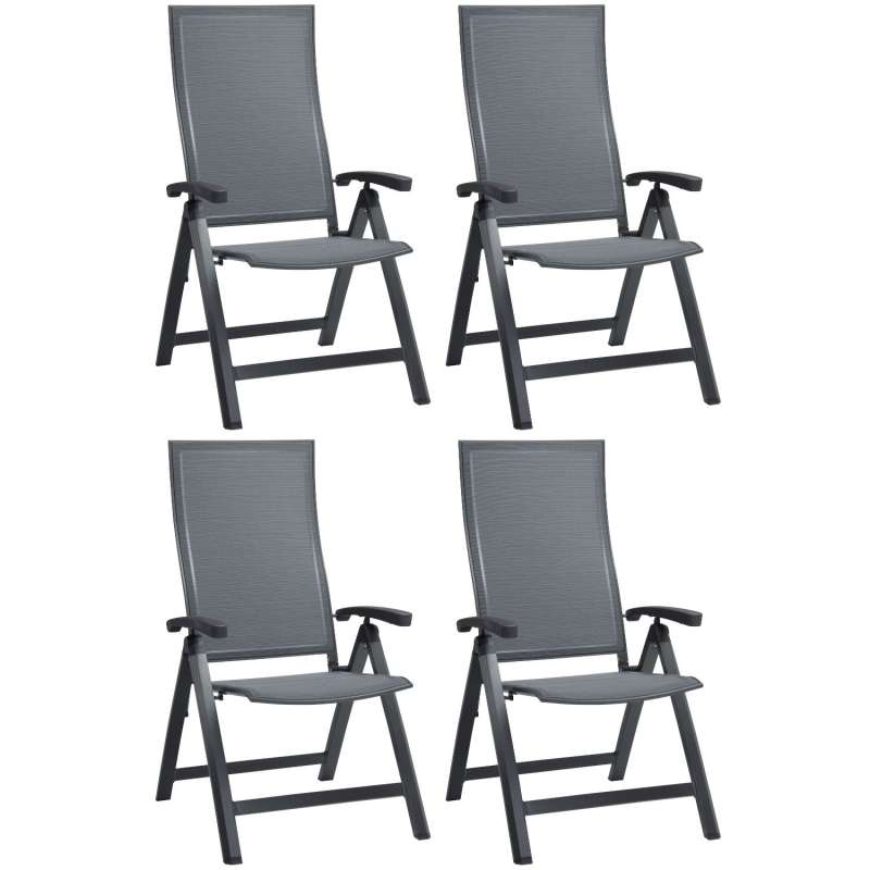 Stern 4er-Set Klappsessel Kari Aluminium anthrazit/Textilen karbon Gartenstuhl Hochlehner