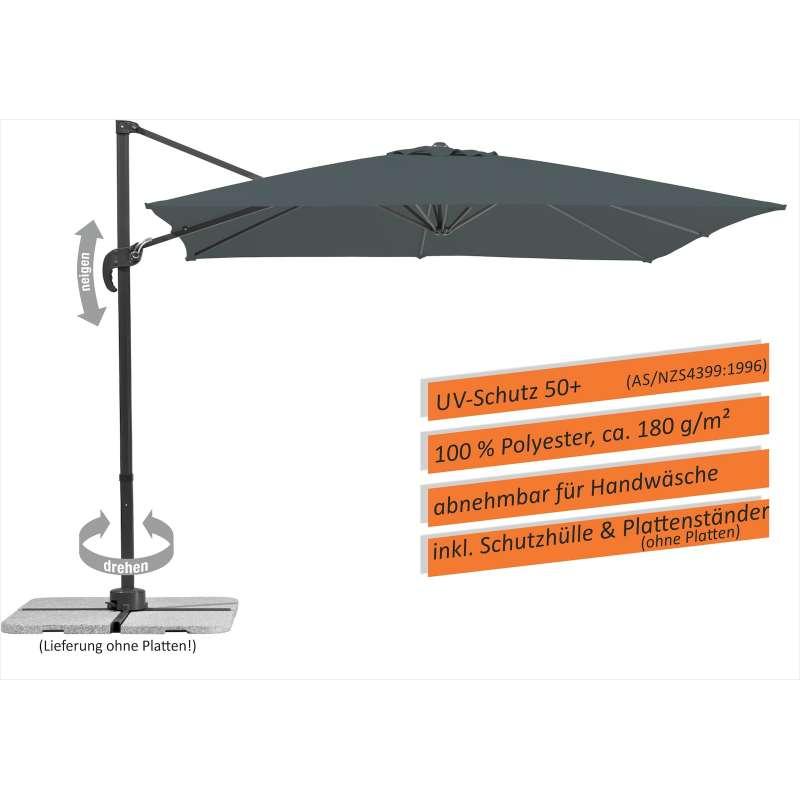 Schneider Schirme Rhodos Junior Ampelschirm 270 x 270 cm anthrazit Sonnenschirm Freiarm