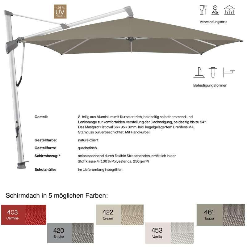 GLATZ Ampelschirm SOMBRANO® S+ quadratisch 350 x 350 cm in 5 Farben Sonnenschirm Stoffklasse 4