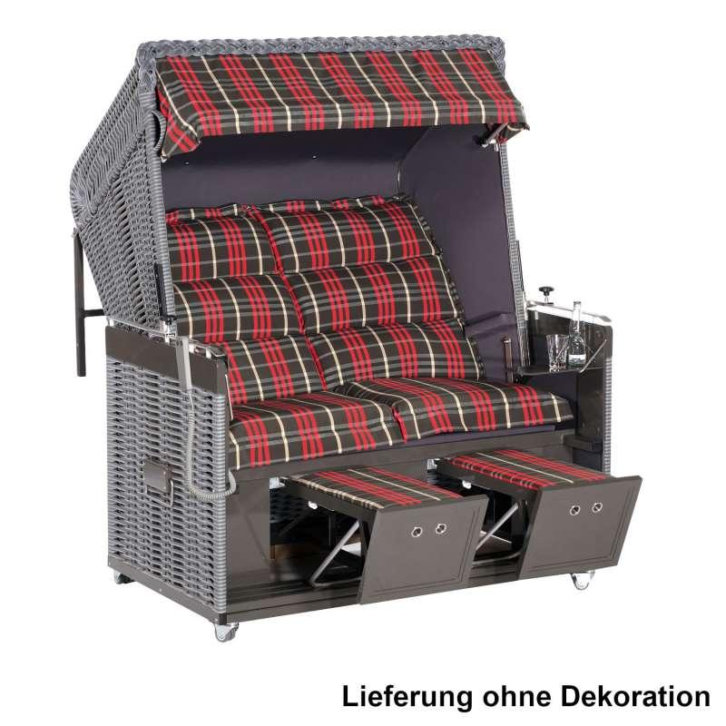 Sonnenpartner Strandkorb Präsident Alu Duo-Style 2-Sitzer XL Liegemodell grau/rot mit Rollen