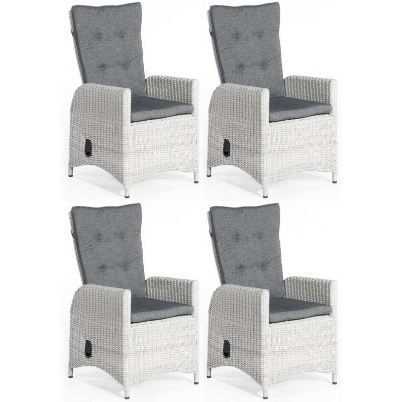 SunnySmart 4er Set Dining-Sessel Para-Plus Aluminium mit Kunststoffgeflecht silber-grau Gartenstuhl
