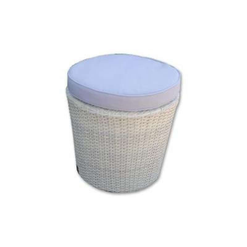 Softub Hocker aus Polyrattan white chocolate rund inkl Kissen grau 46201012