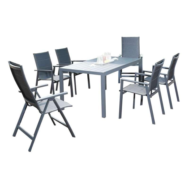 SunnySmart 7-teilige Sitzgruppe Concept & Campus II Aluminium Polstertextilgewebe anthrazit Gartenti