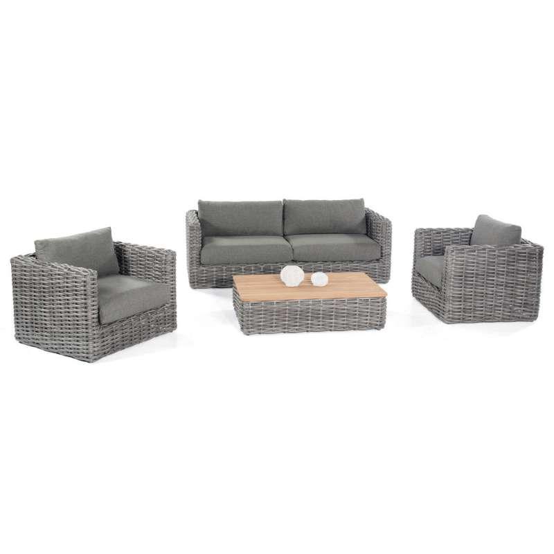 Sonnenpartner 4-teilige Lounge-Sitzgruppe Sands Aluminium mit Polyrattan charcoal Loungesitzgruppe