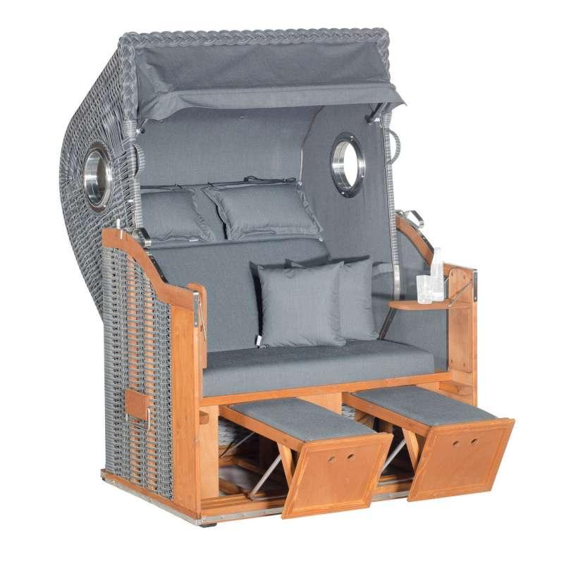 Sonnenpartner Strandkorb Classic 2-Sitzer Halbliegemodell charcoal deluxe/onix mit Bullaugen