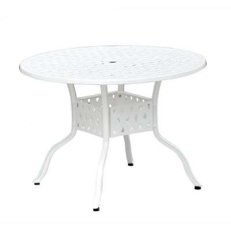 Inko Aluguss Tisch Nexus Weiß rund 106 cm Gartentisch TAG 201-W