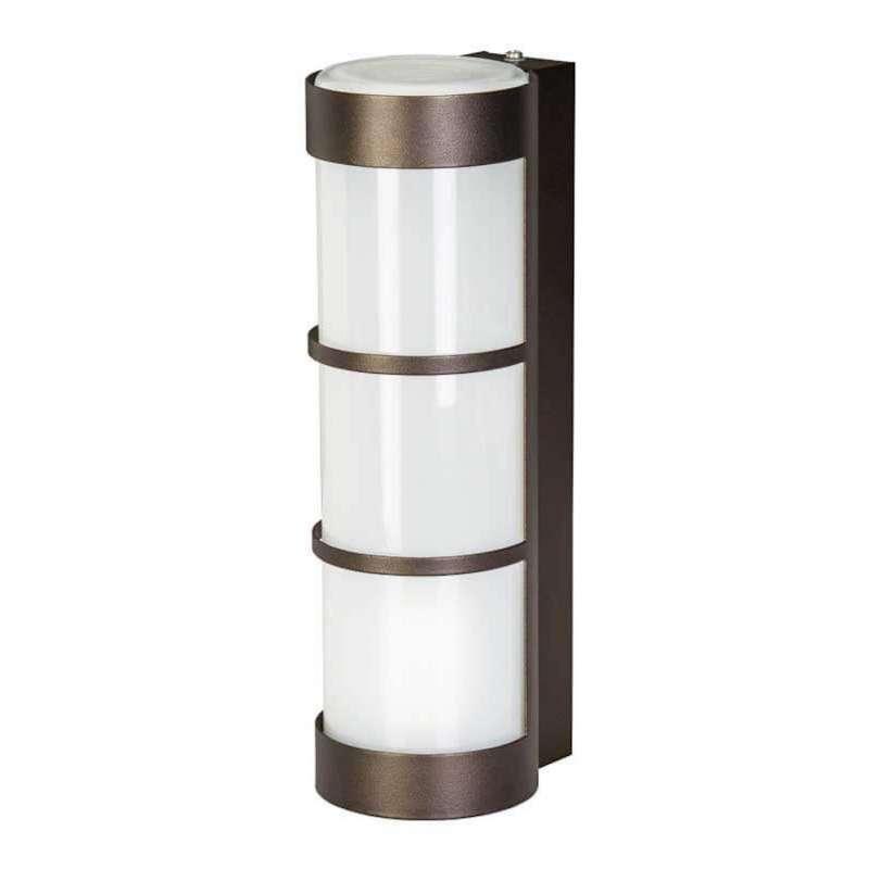 Heibi Wandleuchte Zierleisten Zylinderform Stahl mokkabraun/Opalglas 10x12,5x31,5 cm Außenleuchte