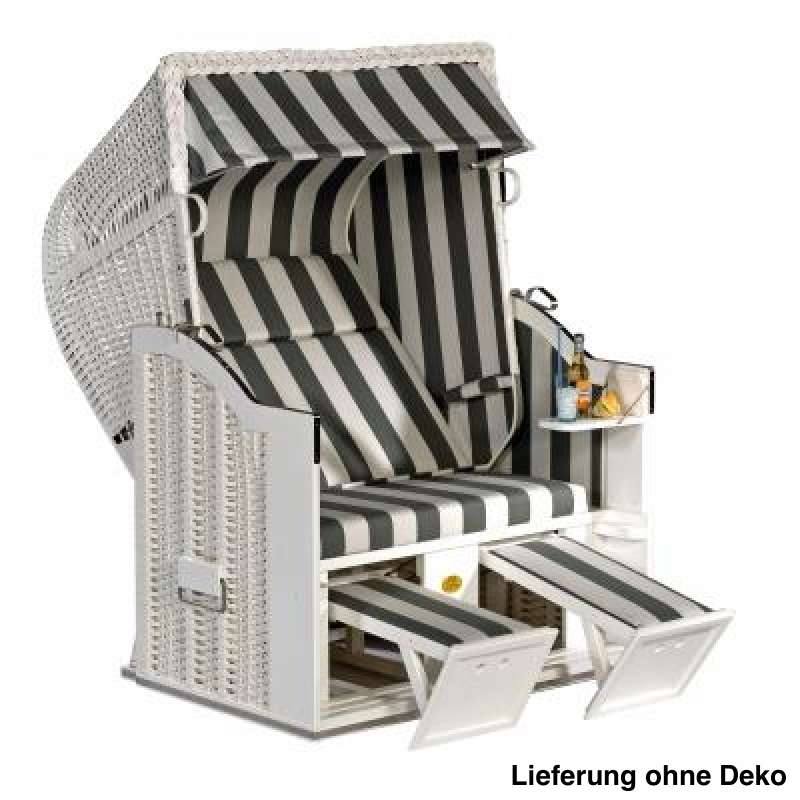 Sonnenpartner Strandkorb Classic 2 Sitzer Halbliegemodell weiß grau