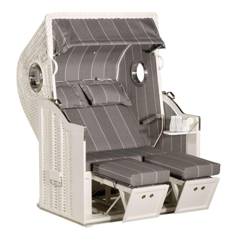 Sonnenpartner Strandkorb Classic 2-Sitzer Halbliegemodell weiß/grau mit Bullaugen